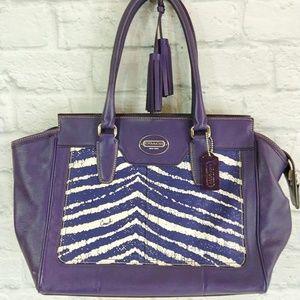 Coach Purple Zebra Zip Top Carryall
